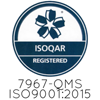 The official logos for the ISOQAR and UKAS industry regulatory bodies.